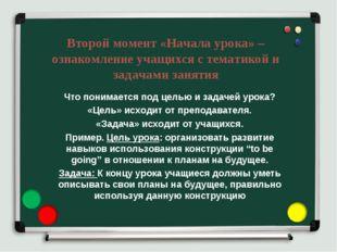 Второй момент «Начала урока» – ознакомление учащихся с тематикой и задачами з