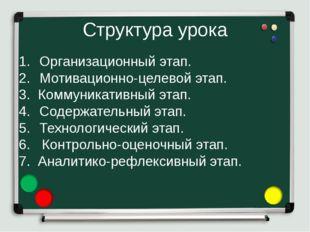 Структура урока Организационный этап. Мотивационно-целевой этап. 3. Коммуника