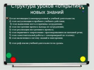 Структура уроков «открытия» новых знаний 1)этап мотивации (самоопределения) к