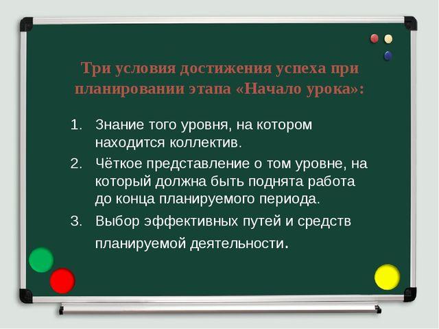 Три условия достижения успеха при планировании этапа «Начало урока»: Знание т...