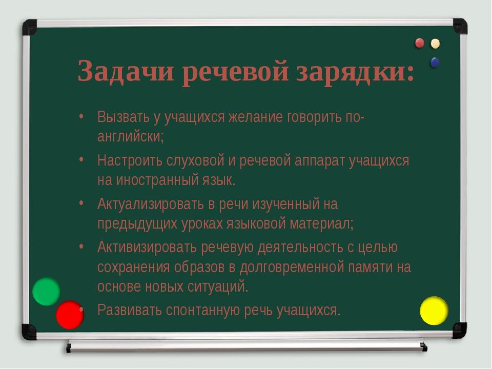 Задачи речевой зарядки: Вызвать у учащихся желание говорить по-английски; Нас...