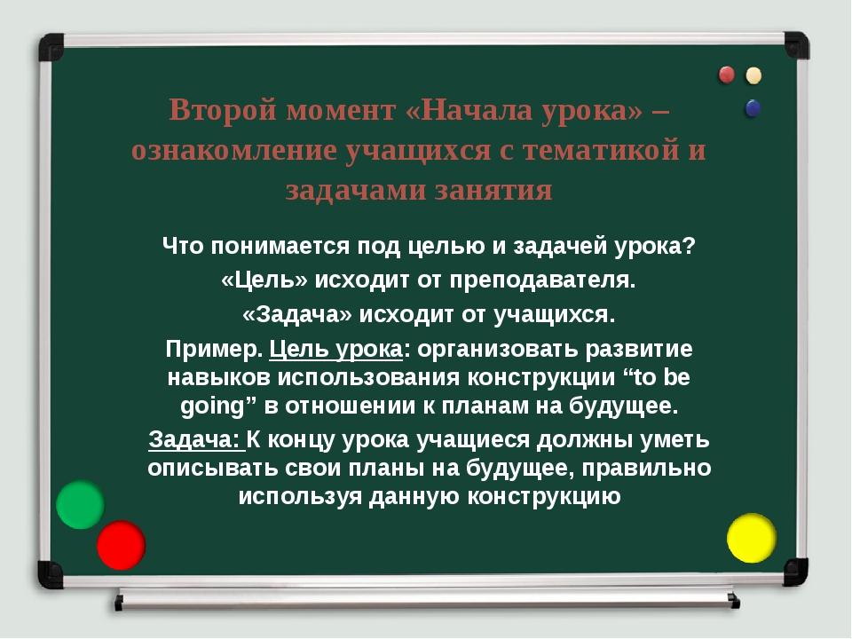 Второй момент «Начала урока» – ознакомление учащихся с тематикой и задачами з...