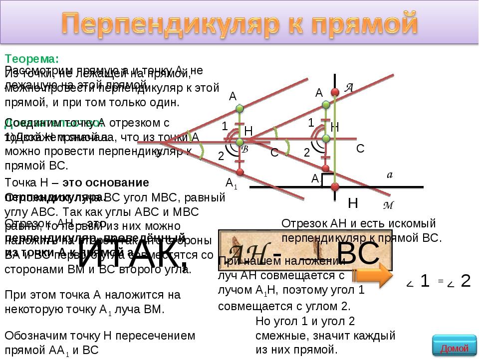 Теорема: Из точки, не лежащей на прямой, можно провести перпендикуляр к этой...