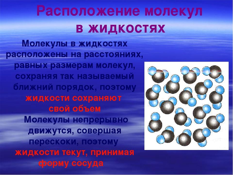 Молекулы в жидкостях расположены на расстояниях, равных размерам молекул, сох...