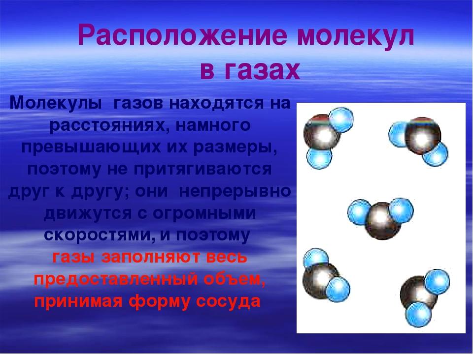 Молекулы газов находятся на расстояниях, намного превышающих их размеры, поэт...