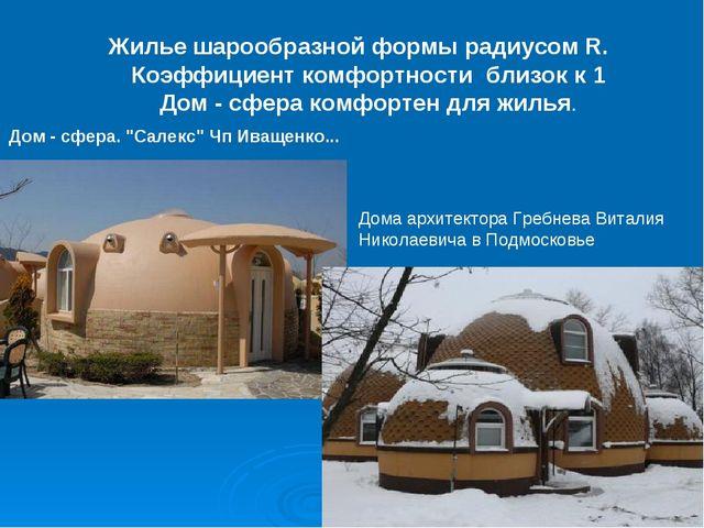 Жилье шарообразной формы радиусом R. Коэффициент комфортности близок к 1 Дом...
