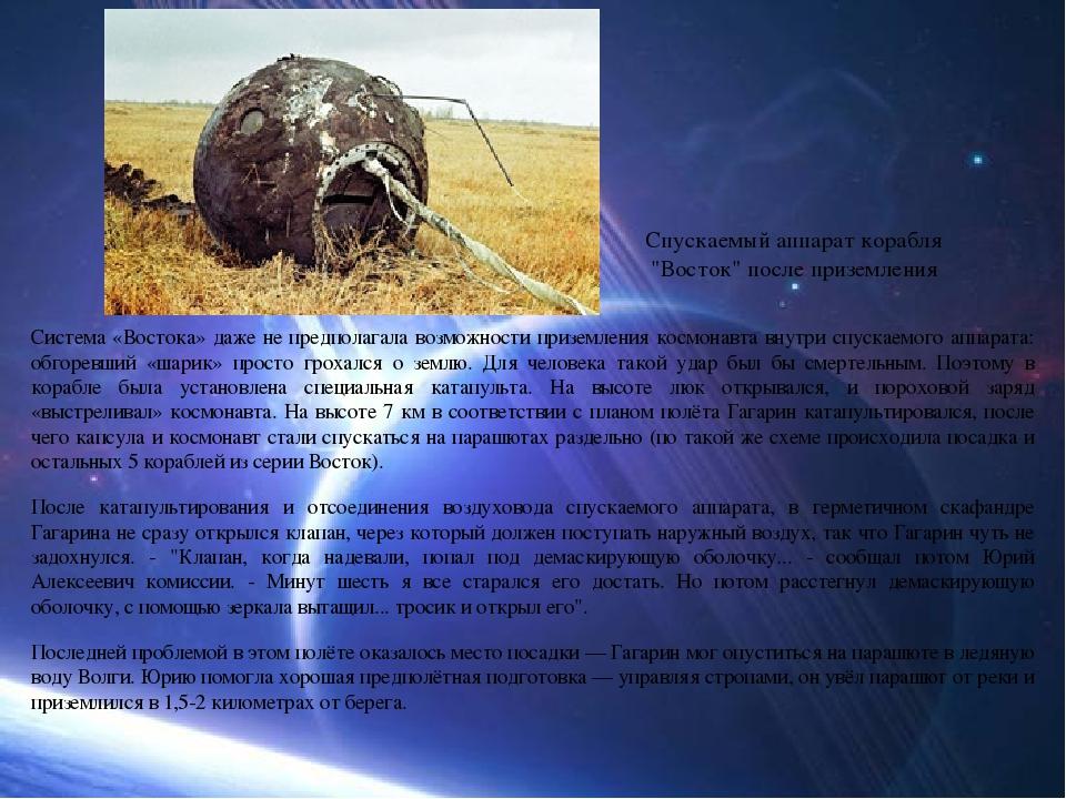 Система «Востока» даже не предполагала возможности приземления космонавта вну...