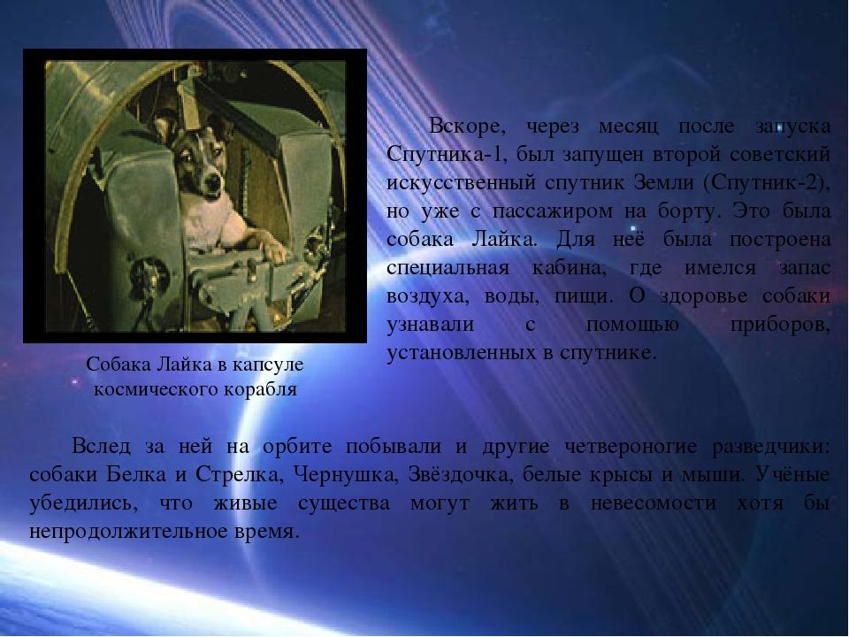 Вскоре, через месяц после запуска Спутника-1, был запущен второй советский и...