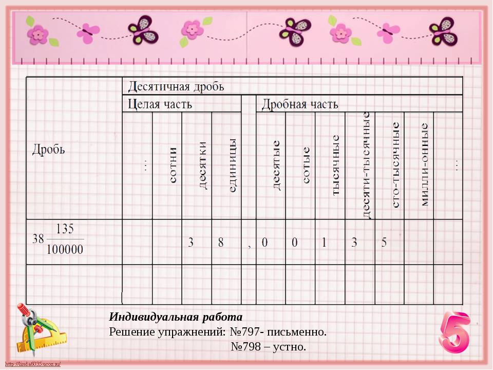 Индивидуальная работа Решение упражнений: №797- письменно. №798 – устно.