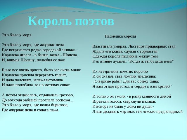 Король поэтов Это было у моря Это было у моря, где ажурная пена, Где встречае...