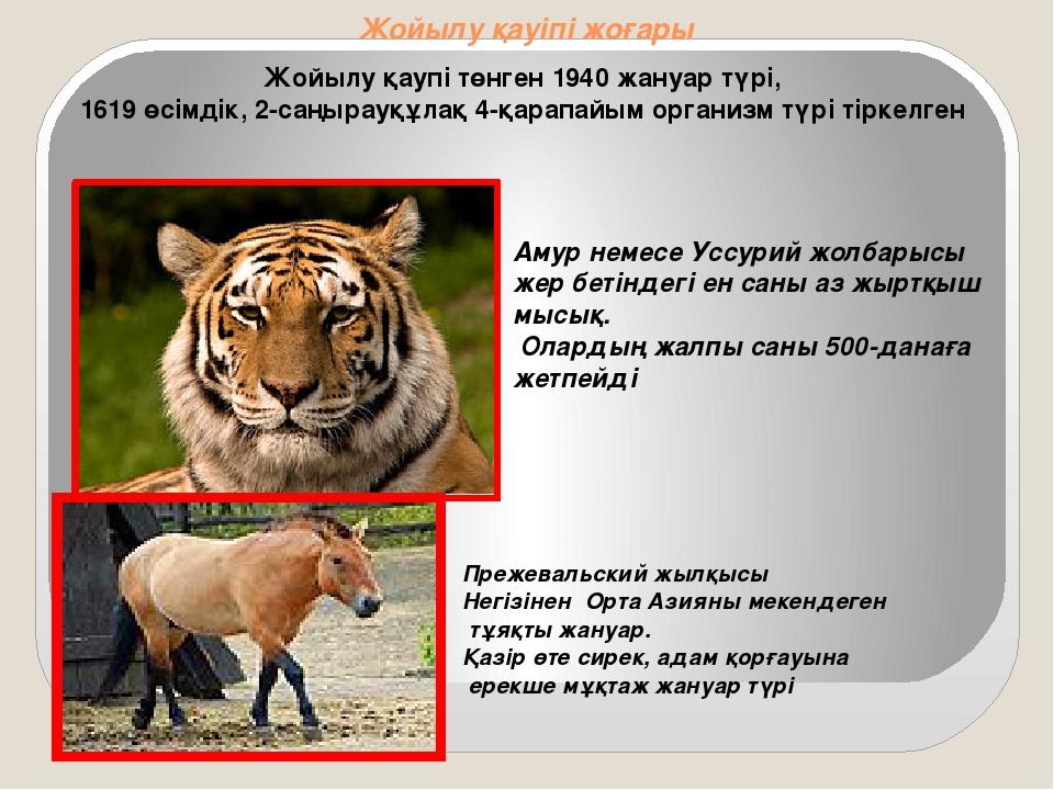 Жойылу қауіпі жоғары Жойылу қаупі төнген 1940 жануар түрі, 1619 өсімдік, 2-са...