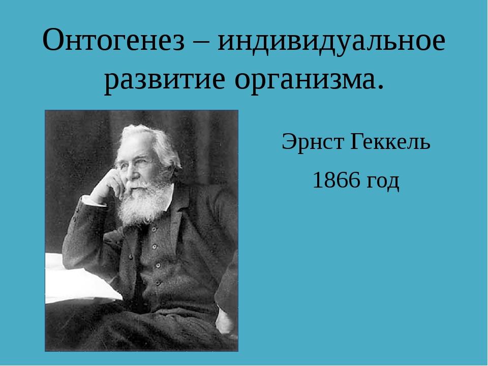 Онтогенез – индивидуальное развитие организма. Эрнст Геккель 1866 год