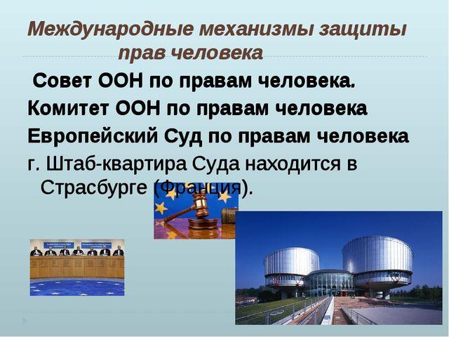 Международные механизмы защиты прав человека Совет ООН по правам человека. Ко...