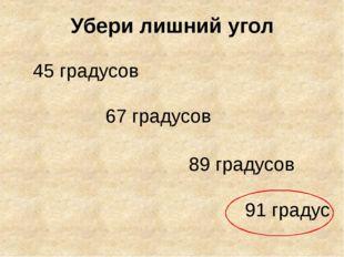 Убери лишний угол 45 градусов 67 градусов 89 градусов 91 градус