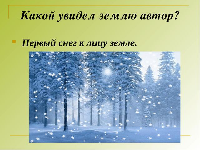 Какой увидел землю автор? Первый снег к лицу земле.