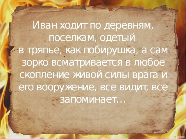 Иван ходит по деревням, поселкам, одетый в тряпье, как побирушка, а сам зорк...