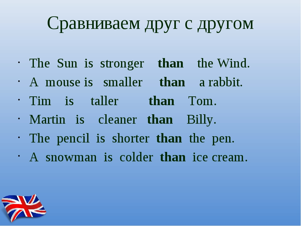 Сравниваем друг с другом The Sun is stronger than the Wind. A mouse is smalle...