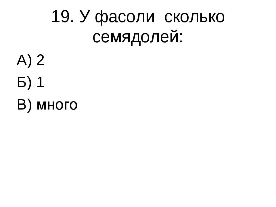 19. У фасоли сколько семядолей: А) 2 Б) 1 В) много