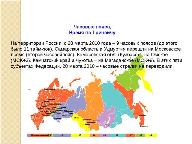 На территории России, с 28 марта 2010 года – 9 часовых поясов (до этого было...