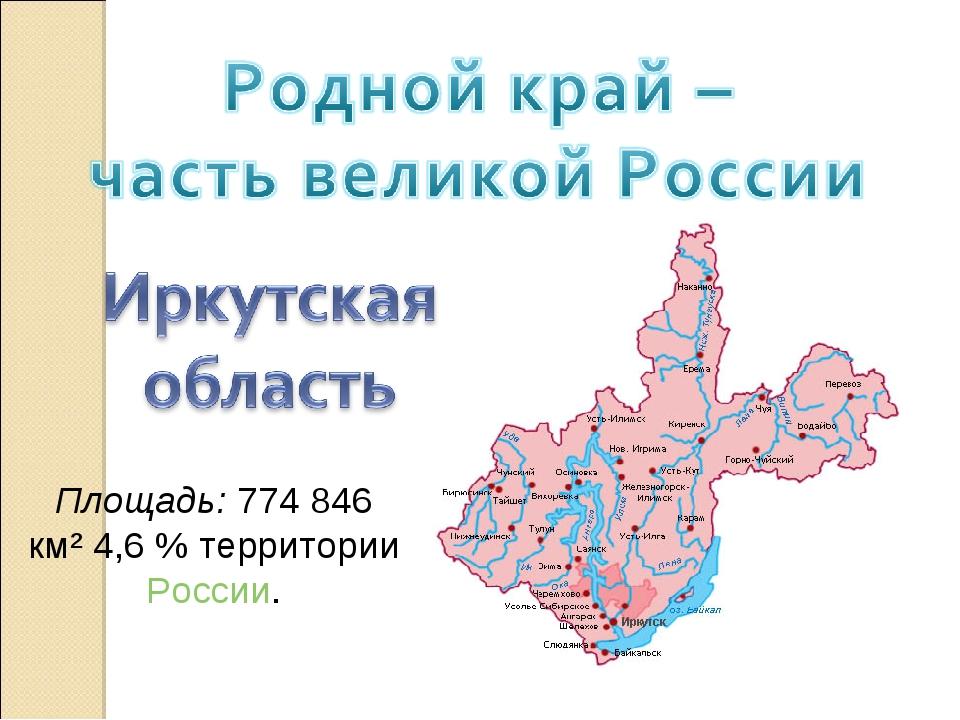 Площадь: 774 846 км² 4,6% территории России.