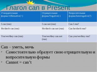 Глагол can в Present Simple Can – уметь, мочь Самостоятельно образует свою от