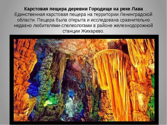 Карстовая пещера деревни Городище на реке Лава Единственная карстовая пещера...