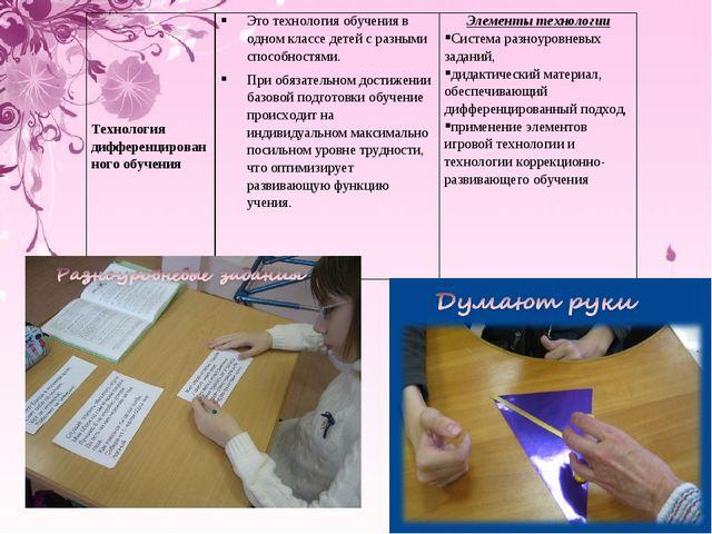 Технология дифференцированного обученияЭто технология обучения в одном класс...