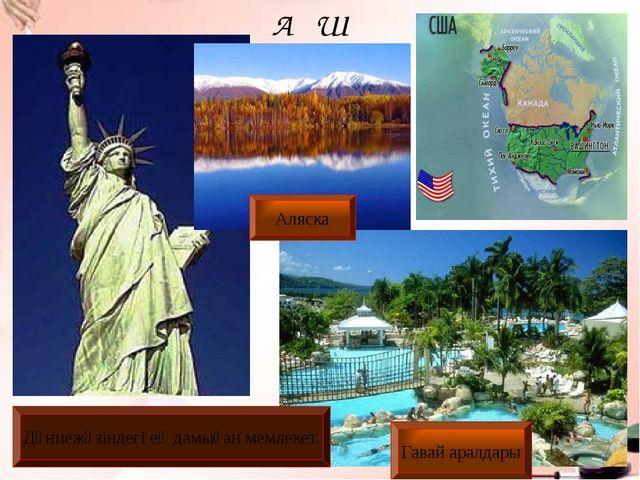 АҚШ Дүниежүзіндегі ең дамыған мемлекет. Гавай аралдары Аляска