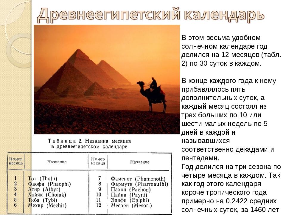 В этом весьма удобном солнечном календаре год делился на 12 месяцев (табл. 2)...
