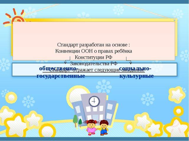 Стандарт разработан на основе : Конвенции ООН о правах ребёнка Конституции Р...