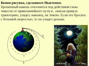 Копия рисунка, сделанного Ньютоном. Брошенный камень отклонится под действием