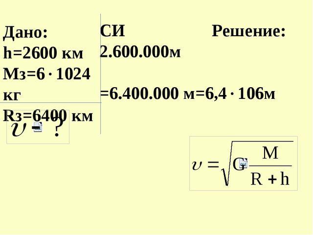 Дано: h=2600 км Мз=61024кг Rз=6400 км СИ Решение: 2.600.000м =6.400.000 м=6,...