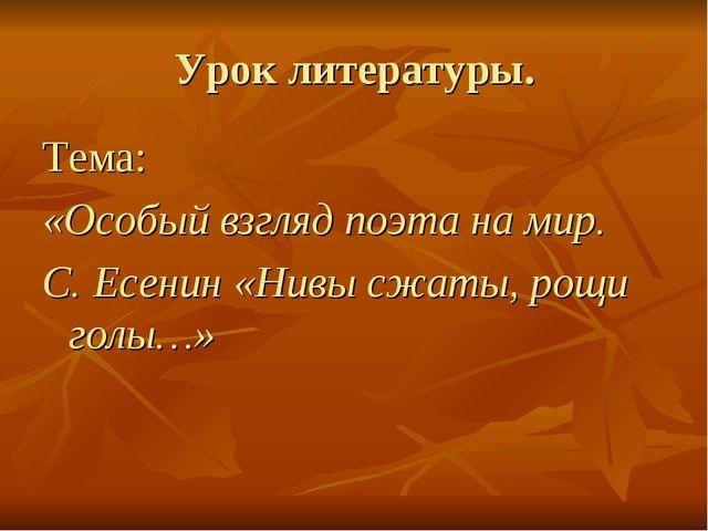 Урок литературы. Тема: «Особый взгляд поэта на мир. С. Есенин «Нивы сжаты, ро...