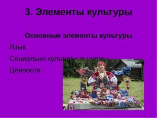 3. Элементы культуры Основные элементы культуры Язык Социально-культурные нор