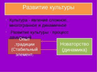 Развитие культуры Культура - явление сложное, мнoгoгpaннoe и динамичное .Разв
