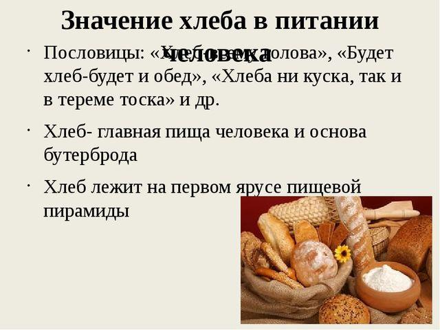 Значение хлеба в питании человека Пословицы: «Хлеб-всему голова», «Будет хлеб...