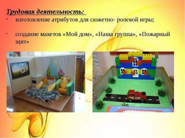 Трудовая деятельность: изготовление атрибутов для сюжетно- ролевой игры; со...