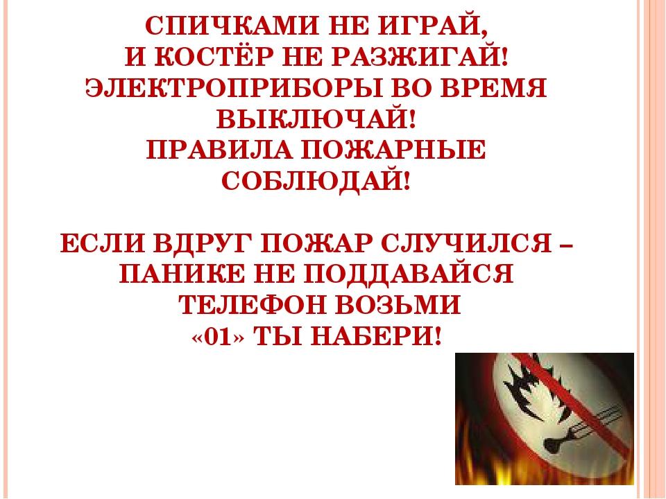 СПИЧКАМИ НЕ ИГРАЙ, И КОСТЁР НЕ РАЗЖИГАЙ! ЭЛЕКТРОПРИБОРЫ ВО ВРЕМЯ ВЫКЛЮЧАЙ! ПР...