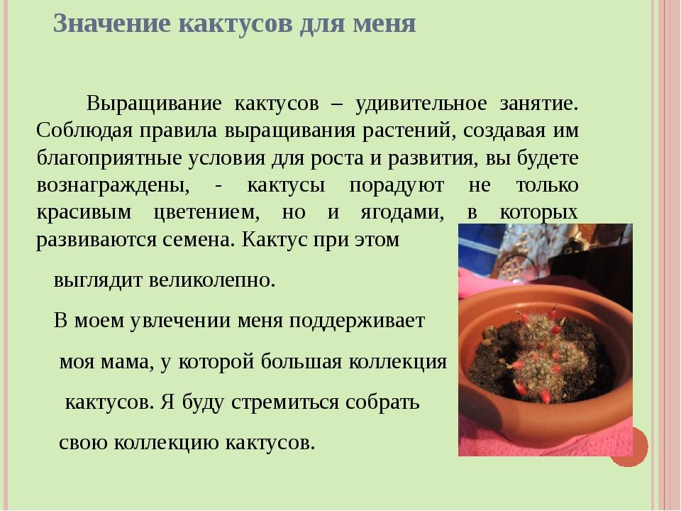Значение кактусов для меня Выращивание кактусов – удивительное занятие. Соблю...