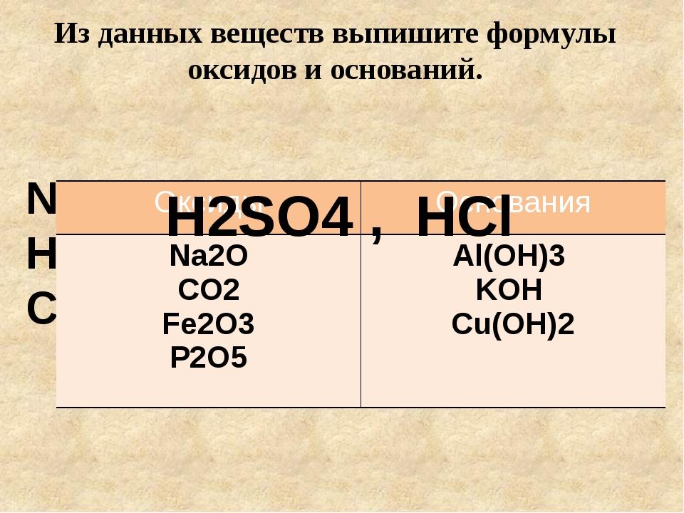 Из данных веществ выпишите формулы оксидов и оснований. Na2O , Al(OH)3 , CO2...
