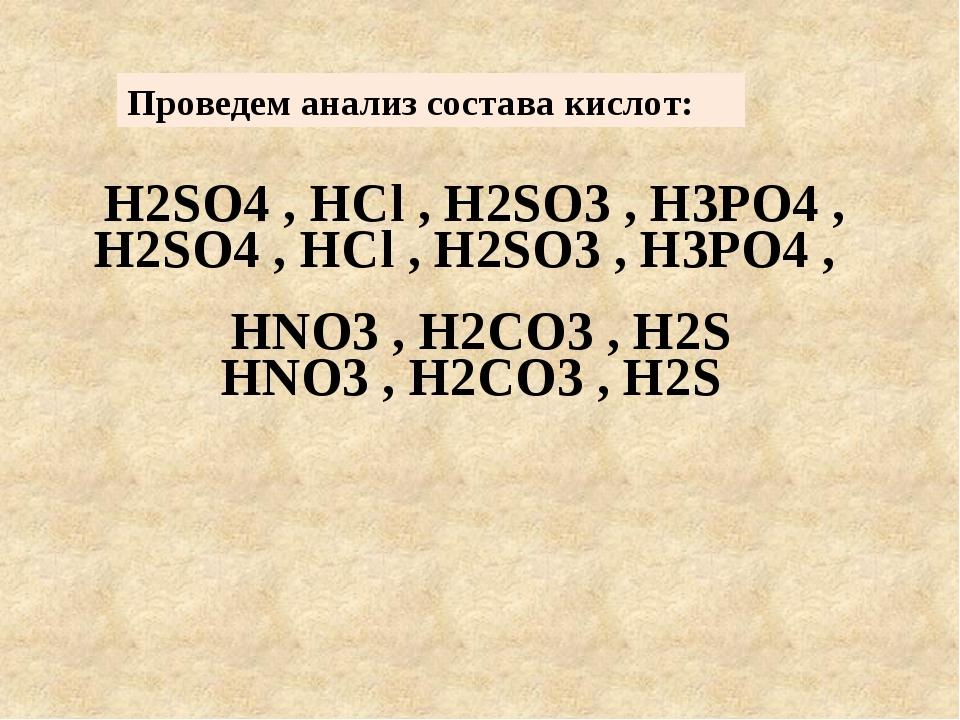 Проведем анализ состава кислот: H2SO4 , HCl , H2SO3 , H3PO4 , HNO3 , H2CO3 ,...