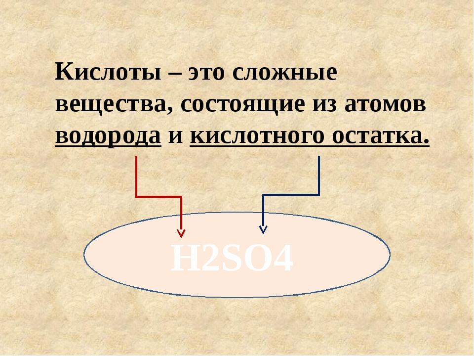 Кислоты – это сложные вещества, состоящие из атомов водорода и кислотного ост...