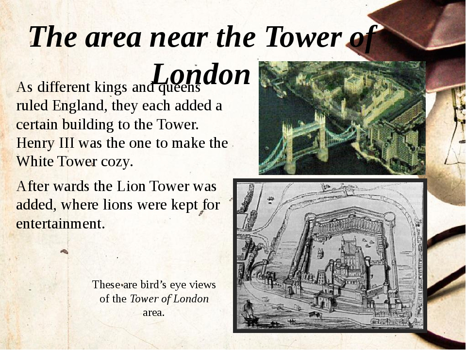 The area near the Tower of London These are bird's eye views of the Tower of...