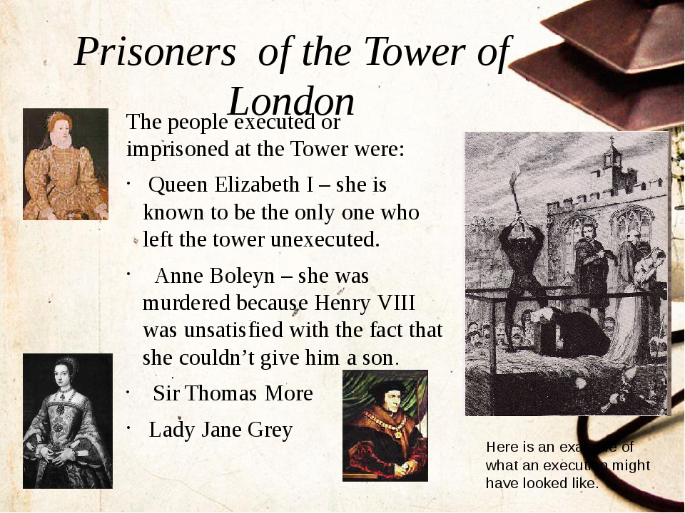 Prisoners of the Tower of London The people executed or imprisoned at the Tow...