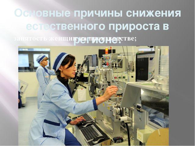 Основные причины снижения естественного прироста в регионе: занятость женщин...