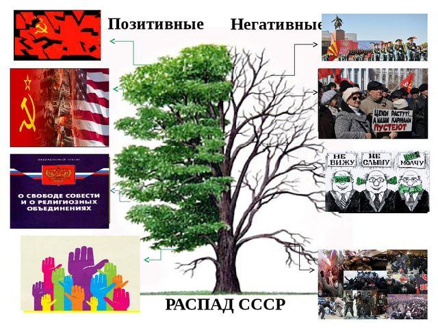 Позитивные Разрушение тоталитарной системы Прекращение гонки вооружении и во...