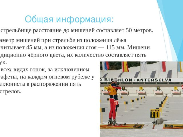 Общая информация: На стрельбище расстояние до мишеней составляет 50 метров. Д...