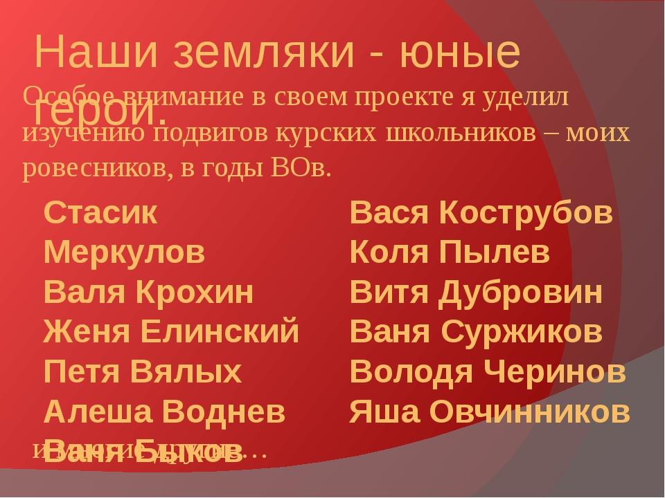 Наши земляки - юные герои. Вася Кострубов Коля Пылев Витя Дубровин Ваня Суржи...