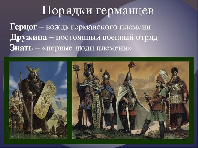 Порядки германцев Герцог – вождь германского племени Дружина – постоянный вое...