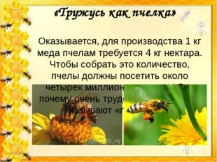 «Тружусь как пчелка» Оказывается, для производства 1 кг меда пчелам требуется